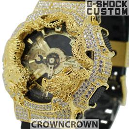 G-SHOCK カスタム虎龍 メンズ 腕時計 GA-110 GA110 GB-1 カスタムベゼル おしゃれ 芸能人 ゴールド リッチ ファッション CROWNCROWN GA110-056