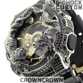 G-SHOCK  カスタム虎龍 メンズ 腕時計 GA-110 GA110 GB-1 カスタムベゼル おしゃれ 芸能人 龍 虎 ファッション CROWNCROWN GA110-059