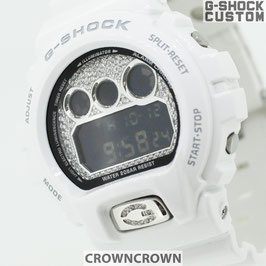 G-SHOCK ジーショック カスタム メンズ 腕時計 DW-6900 DW6900-NB7 カスタム文字盤 シルバー 人気 メンズ ファッション CROWNCROWN DW6900-096