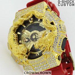 G-SHOCK  カスタム 虎龍メンズ 腕時計 GA-110 GA110-VLA-4A カスタムベゼル おしゃれ 芸能人 ゴールド メンズ CROWNCROWN GA110-068
