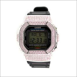 G-SHOCK ジーショック カスタム 腕時計 DW-5600 DW5600E-1 カスタムベゼル ピンクジルコニア ブランド 人気 ユニセックス ファッション CROWNCROWN DW5600-008
