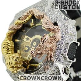G-SHOCK  カスタム虎龍 メンズ 腕時計 GA-110 GA110 GB-1 カスタムベゼル おしゃれ 芸能人 龍 虎 ファッション CROWNCROWN GA110-060