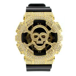 G-SHOCK ジーショック カスタム メンズ 腕時計 GA-110 GA110 GB-1 カスタムベゼル ゴールド スカル ドクロ メンズ ファッション CROWNCROWN GA110-007