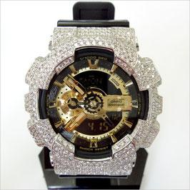 G-SHOCK ジーショック カスタム メンズ 腕時計 GA-110 GA110 GB-1 カスタムベゼル おしゃれ 芸能人 シルバー リッチ メンズ ファッション CROWNCROWN GA110-029