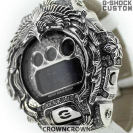 G-SHOCK ジーショック カスタム メンズ 腕時計 DW-6900 DW6900-NB1 カスタムベゼル ネイティブイーグル シルバー 人気 メンズ ファッション CROWNCROWN DW6900-100