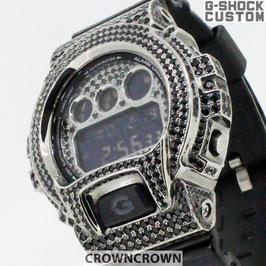 G-SHOCK ジーショック カスタム メンズ 腕時計 DW-6900 DW6900-NB-1 カスタムベゼル ブラックキュービック シルバー 人気 メンズ ファッション CROWNCROWN DW6900-066
