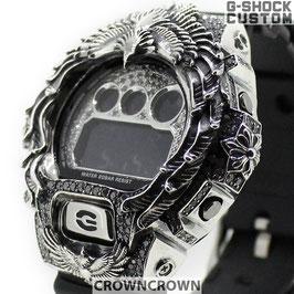 G-SHOCK カスタム ネイティブイーグルメンズ 腕時計 DW-6900 DW6900-NB1 カスタムベゼル ネイティブイーグル シルバー 人気 メンズ ファッション CROWNCROWN DW6900-097