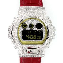 G-SHOCK カスタム クロコ革メンズ 腕時計 DW-6900 DW6900-CB-1JF カスタムベゼルシルバー 人気 メンズ ファッション CROWNCROWN DW6900-040