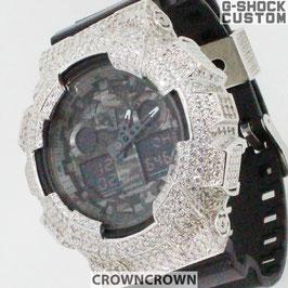 G-SHOCK ジーショック カスタム メンズ 腕時計 GA-100 GA100-1A1 カスタムベゼル スワロフスキージルコニア メンズ ファッション CROWNCROWNGA100-006