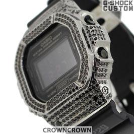 G-SHOCK ジーショック カスタム 腕時計 DW-5600 DW5600MS-1 カスタムベゼル ブラックキュービック ブランド 人気 ユニセックス ファッション CROWNCROWN DW5600-009