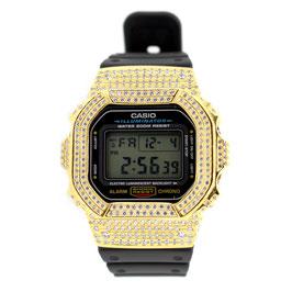 G-SHOCK ジーショック カスタムゴールド 腕時計 DW-5600 DW5600bb-1jf カスタムベゼル スワロフスキージルコニア 人気 ユニセックス ファッション CROWNCROWN DW5600-003