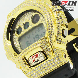 RIZIN FF collaborated by CROWNCROWNブランド保証付 オリジナル G-SHOCK カスタム ウォッチ DW-6900 DW6900-1V RIZIN-004