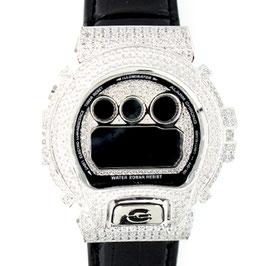 G-SHOCK ジーショック カスタム クロコベルトメンズ 腕時計 DW-6900 DW6900-NB1 カスタムベゼル スワロフスキージルコニアシルバー 人気 メンズ ファッション CROWNCROWN DW6900-039