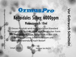 Kolloidales Monoatomisches Silber 6000ppm 10 ml