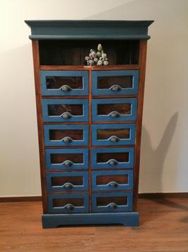 """Schrank """"Aubusson Blue"""" mit 12 Schubladen - Einzelstück - VERKAUFT"""