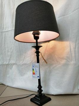 Tischlampe mit grauem Schirm aus Leinen