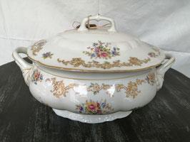 Vintage Suppenschüssel/Terrine mit Blumendekor