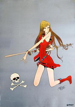 松本零士(槍を持つ女性キャラ、左下頭蓋骨/ポスター・アニメ)