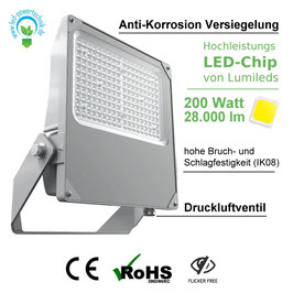LED Neptun Strahler - Flutlicht 200W | 28.000 lm | tageslichtweiß - 5000 K | IP66 I inkl. Anti-Korrosion Beschichtung
