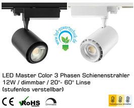 LED Master Color 3 Phasen Schienenstrahler / 12W / dimmbar / 20°- 60° Linse (stufenlos verstellbar) / warmweiss, neutralweiss, tageslichtweiss einstellbar