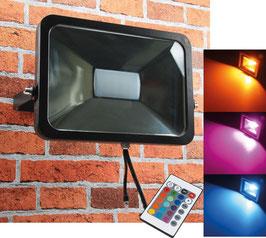 LED RGB Außenstrahler - Fluter SlimLine 50 Watt IP44, 230V, RGB mit Fernbedienung
