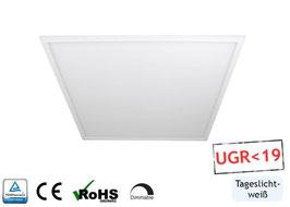 LED Office Panel URG19 / 60x60cm, 40W, 6000K tageslichtweiss, 4400 lm, dimmbar, Rahmenfarbe weiß