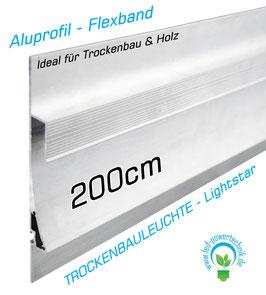LED Lightstar Aluprofil 200cm / Flexbänder - Stripes / für Trockenbau & Holz geeignet