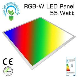 LED RGB-W (4000K) Panel 62x62cm, 24V DC, 45W, 120°, Silber Aluminium Rahmen