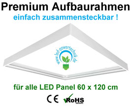 Aufbaurahmen Premium für alle 60x120cm LED Panele aus weiß lackiertem Aluminium / einfach zusammensteckbar !! fertig