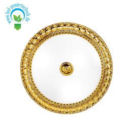 Deckenleuchte MILADY, 24 Karat Gold, Weiss, Ø40cm, Höhe 11cm, 3-flammig, E27