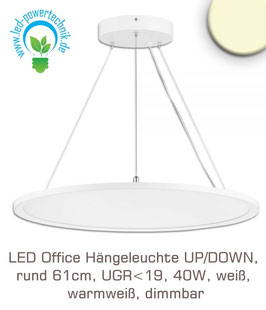LED Office Hängeleuchte UP/DOWN, rund 61cm, UGR<19, 40W, weiss, warmweiss, dimmbar