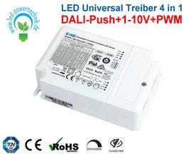 LED Universal Treiber 4 in 1 | DALI-Push+1-10V+PWM | flickerfrei | bis 60 Watt