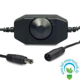 LED Dreh-Dimmer schwarz, 2A, max. 48 Watt, Rundstecker Anschluss
