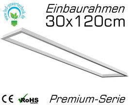 Einbaurahmen Premium für alle 30x120cm LED Panele geeignet für Gipskarton- & Deckenausschnitte aus weiß lackiertem Aluminium