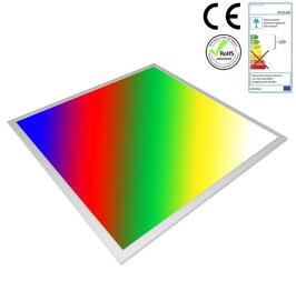 LED RGB Panel 62x62cm, 32W, ultraflach, 105°, inkl. Netzteil, Rahmenfarbe silber