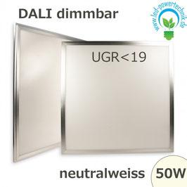 LED Panel 50W, 60x60cm, diffuse UGR<19, DALI dimmbar neutralweiss, 4137lm Gehäuse silber,