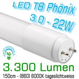LED T8 Röhre Phönix 3.0 - 22W, 150cm, 3.300lm, 6.000K Tageslichtweiss