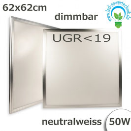 LED Panel 62,5 x 62,5cm, UGR<19, 50W, silber, neutralweiss, dimmbar