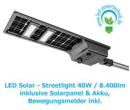 LED Solar - Streetlight | 40 Watt  | 3000K - 6000K | 8400lm | IP65  | dimmbar | inkl. Bewegungsmelder