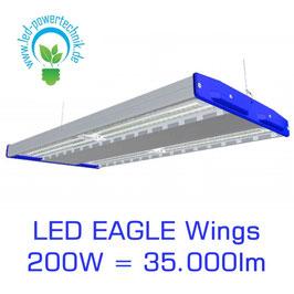 LED Eagle Wings Hallenleuchte 200W | 60°, 90°, 120° Abstrahlwinkel | 35.000 lm | 3000K - 6000 K | IP54 | 1-10V dimmbar | 3 Sensoren zur Auswahl