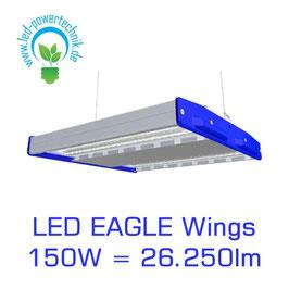 LED Eagle Wings Hallenleuchte 150W | 60°, 90°, 120° Abstrahlwinkel | 26.250 lm | 3000K - 6000 K | IP54 | 1-10V dimmbar | 3 Sensoren zur Auswahl