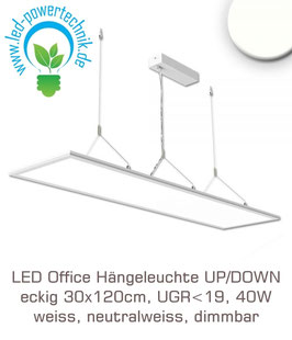 LED Office Hängeleuchte UP/DOWN, eckig 30x120cm, UGR<19, 40W, weiss, neutralweiss, dimmbar
