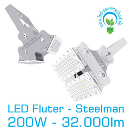 LED Steelman - Fluter 200W | 10°, 30°, 60°, 90°, 120° Abstrahlwinkel | 32.000 lm | 6000K tageslichtweiss | IP66 | 1-10V dimmbar |