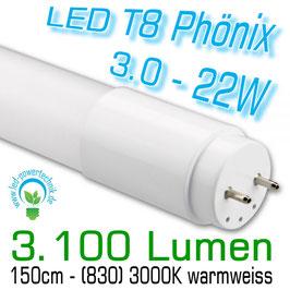 LED T8 Röhre Phönix 3.0 - 22W, 150cm, 3.150lm, 3.000K warmweiss