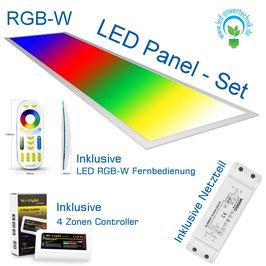 Komplettset inkl. LED RGB-WW Panel V4 - 44 Watt 295*1195mm, Osram Netzteil - DALI dimmbar, Controller - Steuerung mit Fernbedienung und bis zu 4 Zonen