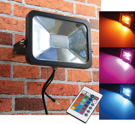 """LED-Fluter SlimLine 30W RGB"""" IP44, 230V, RGB mit Fernbedienung"""