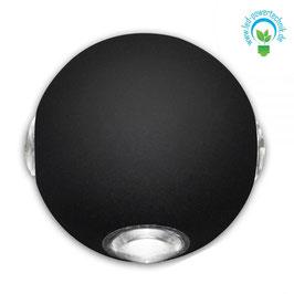 LED Wandleuchte - rund - Up&Down IP54, 5W CREE, schwarz, warmweiss