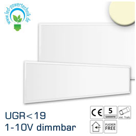 LED Panel 300x1200 diffuse, UGR<19 2H, 36W, Rahmen weiss, warmweiss, 1-10V dimmbar