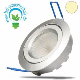 LED Einbaustrahler, silber, 8W SMD, 140°, rund, warmweiss, dimmbar
