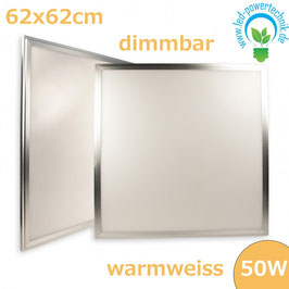 LED Panel 625x625mm diffuse, 50W, Rahmen silber, warmweiss